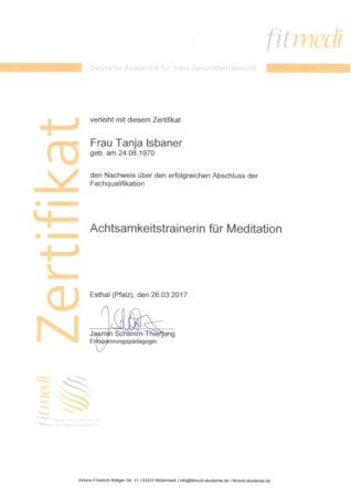 Zertifikat Achtsamkeitstrainerin für Meditation
