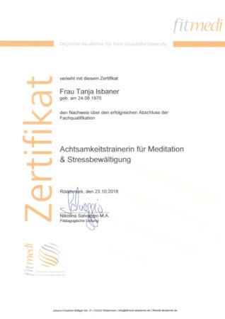 Zertifikat Achtsamkeitstrainerin für Meditation & Stressbewältigung