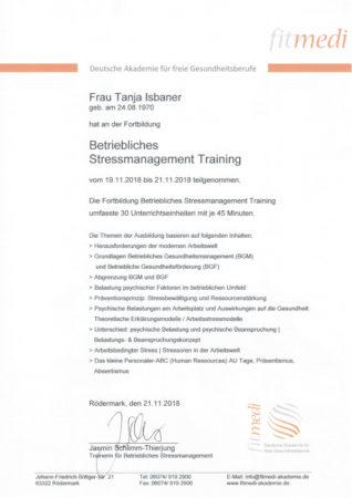 Zertifikat Betriebliches Stressmanagement Training
