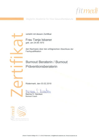 Zertifikat Burnout Beraterin / Burnout Präventionsberaterin