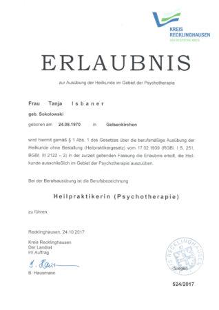 Zertifikat Heilpraktikerin Psychotherapie