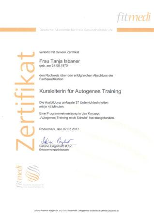 Zertifikat Kursleiterin für Autogenes Training