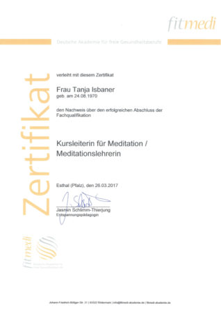 Zertifikat Kursleiterin für Meditation / Meditationslehrerin