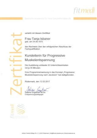 Zertifikat Kursleiterin für Progressive Muskelentspannung