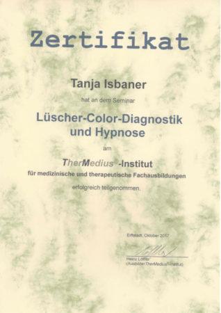 Zertifikat Lüscher-Color-Diagnostik und Hypnose