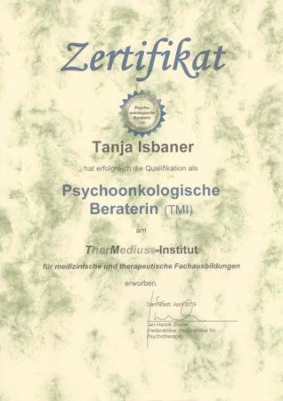 Zertifikat Psychoonkologische Beraterin