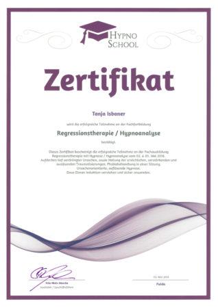 Zertifikat Regressionstherapie / Hypnoanalyse
