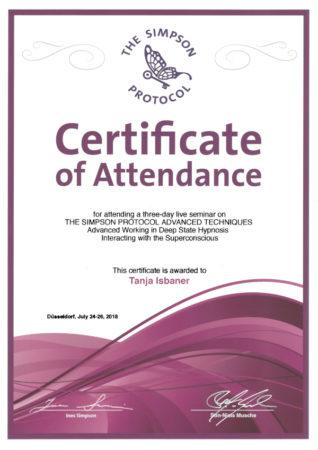 Zertifikat The Simpson Protocol Advanced Techniques