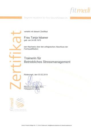 Zertifikat Trainerin für Betriebliches Stressmanagement
