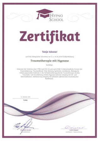 Zertifikat Traumatherapie mit Hypnose von HypnoSchool
