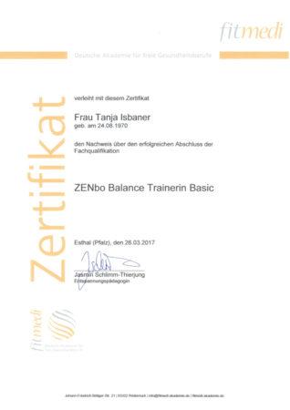 Zertifikat ZENbo Balance Trainerin Basic