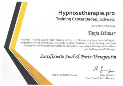 Zertifikat Zertifizierte Soul & Parts Therapeutin